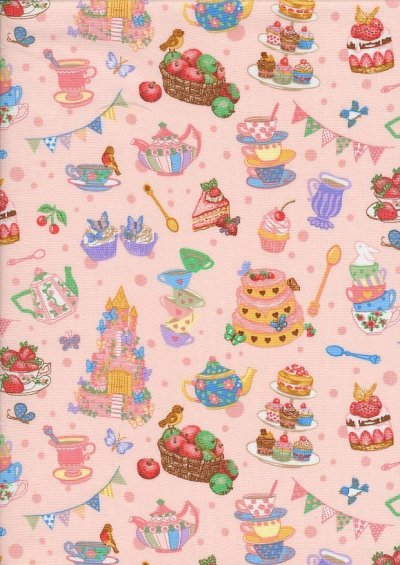 Novelty Fabric - Tea, Cakes & Apples On Pink