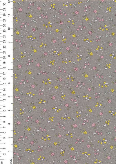 Rose & Hubble - Quality Cotton Print CP-0860 Grey Floral
