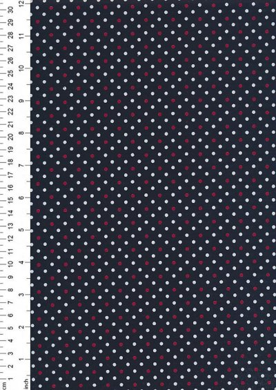 Sevenberry Japanese Ditsy Heirloom - White & Red Spots On Navy Blue