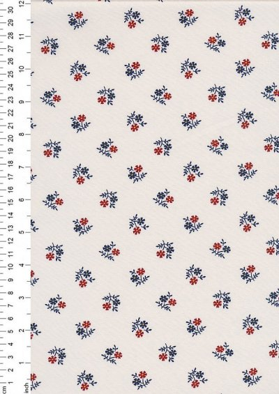 Sevenberry Japanese Ditsy Floral - Flower Motif White