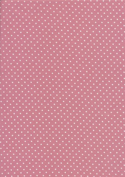 Fabric Freedom - White Pin Spot On Powder Pink